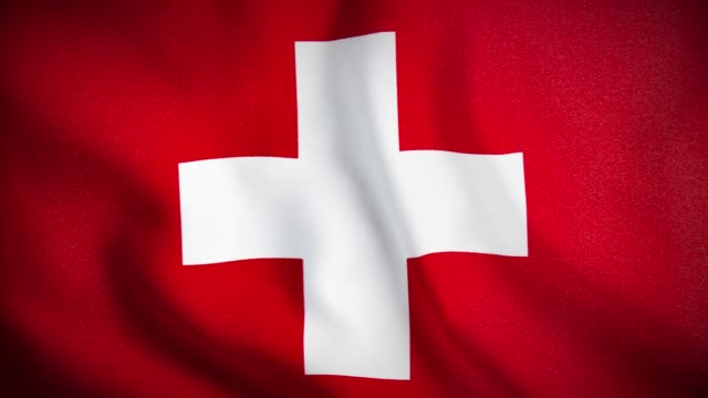 4K Close up Swiss Flag waving stock video
