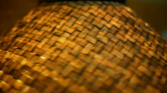 Close up texture of handmade lamp made of wood woven from bamboo sheet.