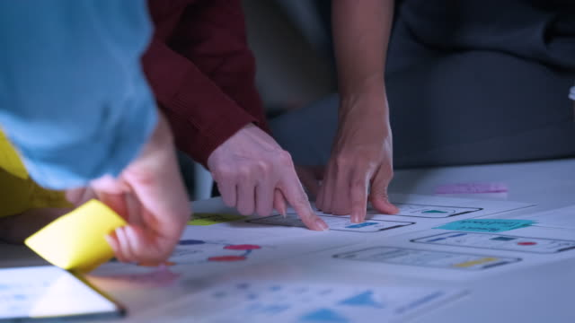 Close up ux developer and ui designer brainstorming about mobile app interface wireframe prototype design on table in modern office at night.working late of Creative digital development agency.panning to hand clapping