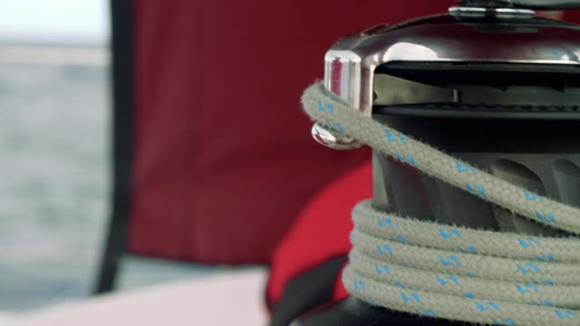 Close up veiw of windlass rope on it video