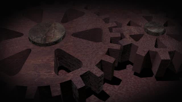 クローズアップのアニメーション回転ラスティ・ギア - 錆びている点の映像素材/bロール
