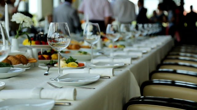Close up view of banquet table served for celebration video