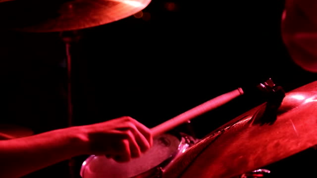 Close up view of musician playing drum and buss video