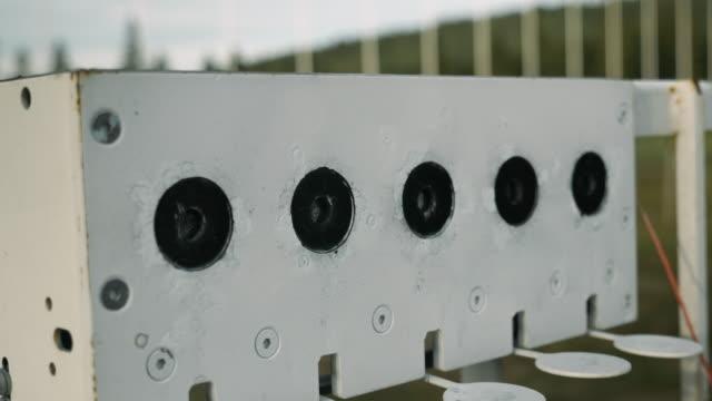 Close up view of shooting range at biathlon stadium. Biathlon targets shooting. Winter sports concept