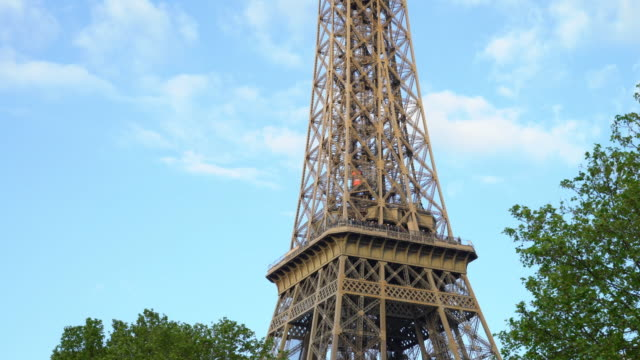 Close up view of the Eiffel Tower in Paris, France