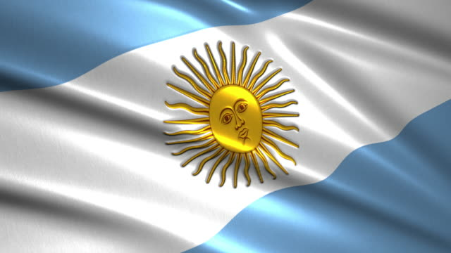 close up waving flag of argentina,loopable - bandiera dell'argentina video stock e b–roll