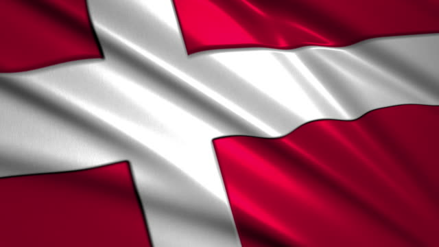close up waving flag of Denmark ,loopable video