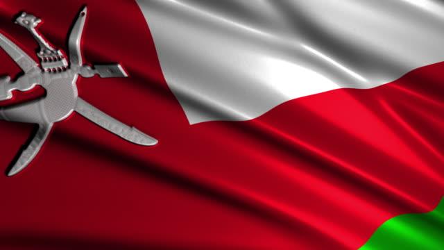 close up waving flag of Oman,loopable video