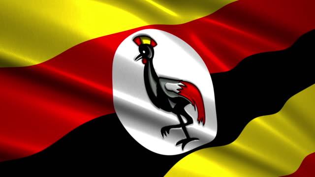close up waving flag of Uganda,loopable video