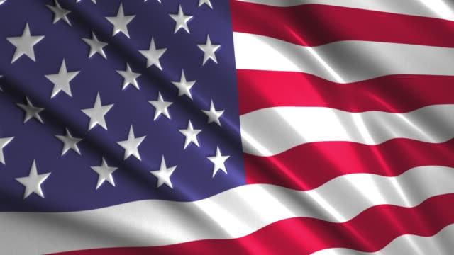 close up waving flag of USA,loopable video