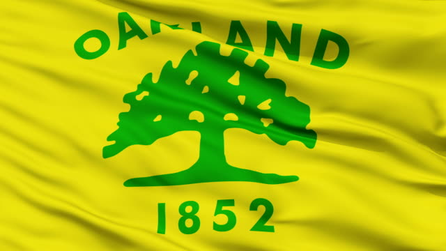 Close Up Waving National Flag of Oakland City Oakland City Flag Close Up Realistic Animation Seamless Loop - 10 Seconds Long oakland stock videos & royalty-free footage