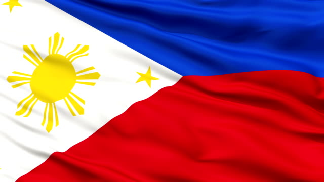 Close Up Waving National Flag of Philippines video