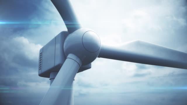 vídeos y material grabado en eventos de stock de primer plano de la turbina de viento y en bucle - energía eólica