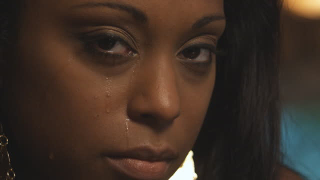 Close up woman crying video