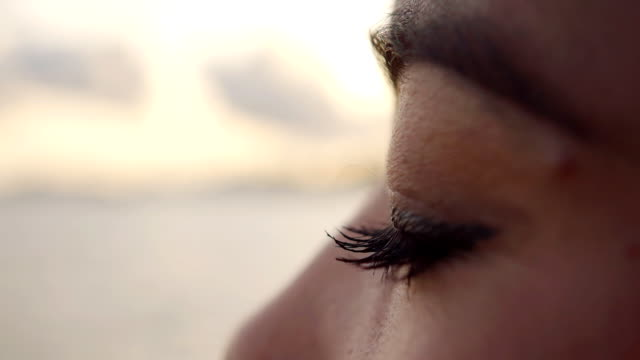 Close up Woman eyes slow motion video
