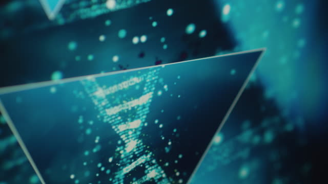 Close Ups of a futuristic DNA Research Interface on a Computer Monitor