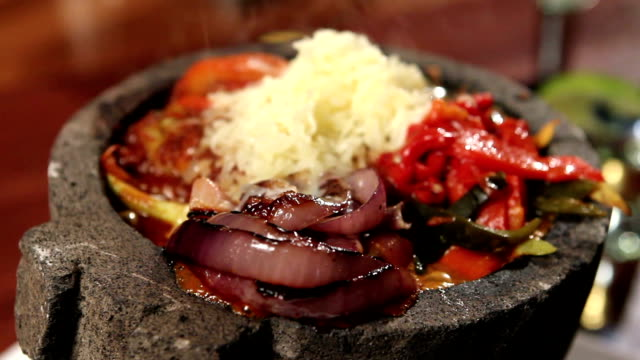 Close ups of several Mexican food dishes video