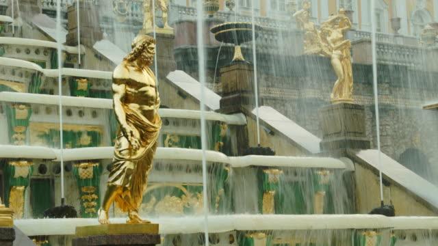 Close view of Grand Cascade golden statue in Peterhof Russia