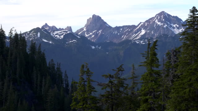 close zoom in of american border peak in the north cascades of washington