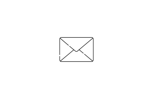 Closed envelope or e-mail. Animated outline thin flat design icon. Animation of isolated UI element