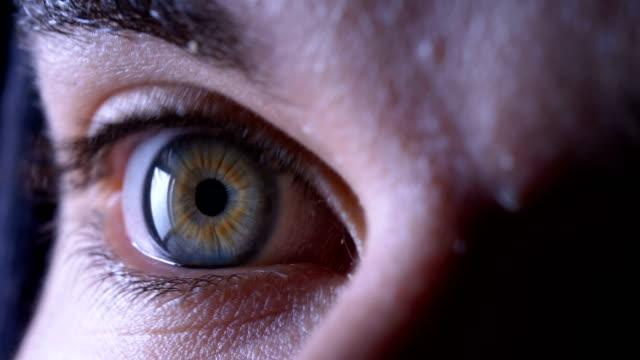 stängt öppna ögonen livrädd: rädsla, fara-macro - fruktan bildbanksvideor och videomaterial från bakom kulisserna