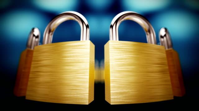 Closed padlock in a row. Loopable CG. video