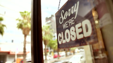 Closed Sign on Glass Door of Coffee Shop Closed Sign on glass front door of coffee shop with reflection of street in glass store stock videos & royalty-free footage