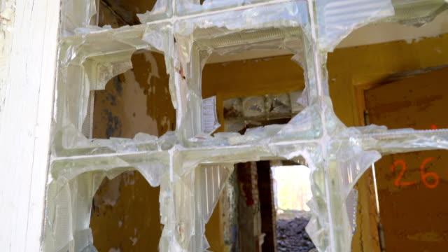 Closer look of the broken window glass video