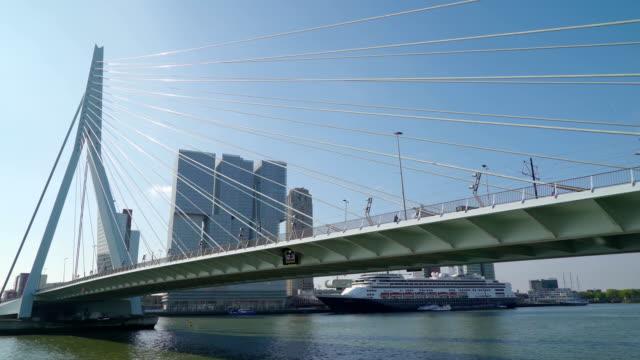 closer look of the modern big bridge in rotterdam - rotterdam video stock e b–roll