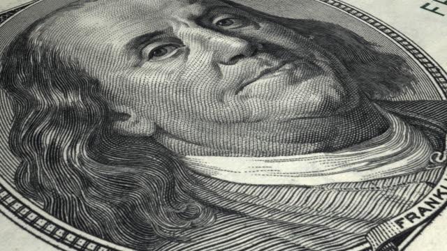 4 K Nahaufnahme 100-Dollar-Banknote/Endlos wiederholbar – Video