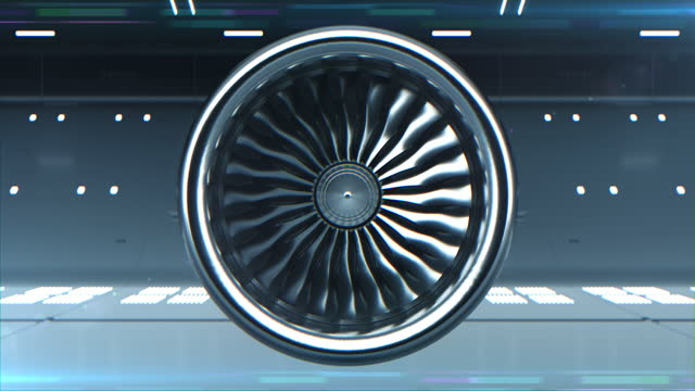 Close-up 3d Animated of Digitalization Turbine Jet Engine. Concept Visualization of Futuristic Airplane Engine Rotating Work Testing in Hangar. Loop able Motion Design Equipment Background Front View