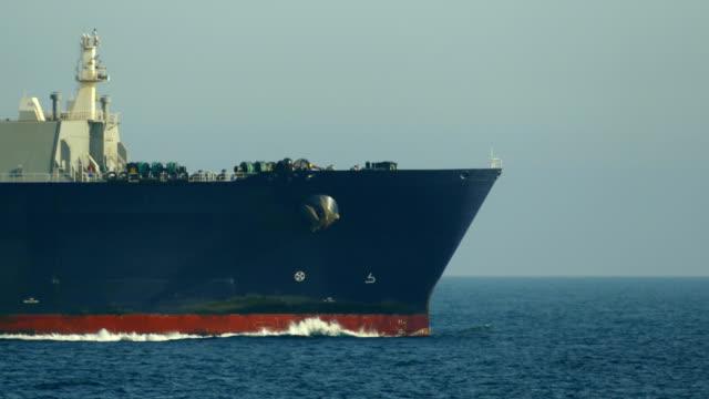 Bидео close-up - a cargo ship sailing in the Atlantic Ocean