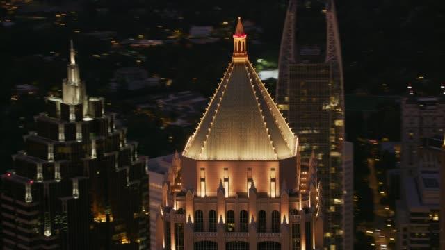 Closeup aerial shot of One Atlantic Center in Atlanta at sunset. video