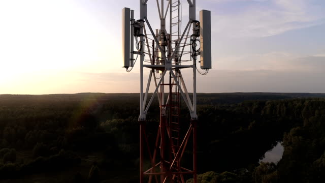 Closeup aerial view of the cellular telecom tower video