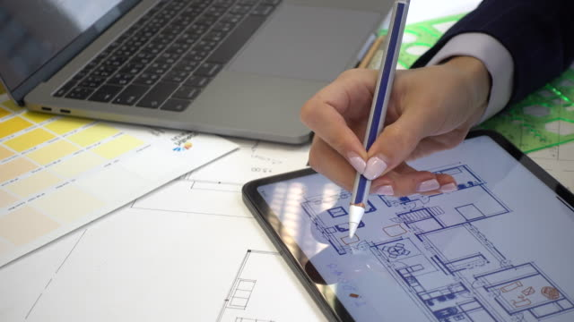 Close-up Architect working on Digital tablet Close-up Architect working on Digital tablet civil engineering stock videos & royalty-free footage