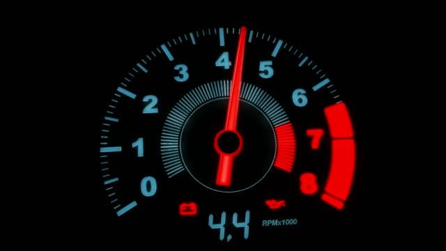 Close-up arrow speedometer of sports car seamless loop - stock video