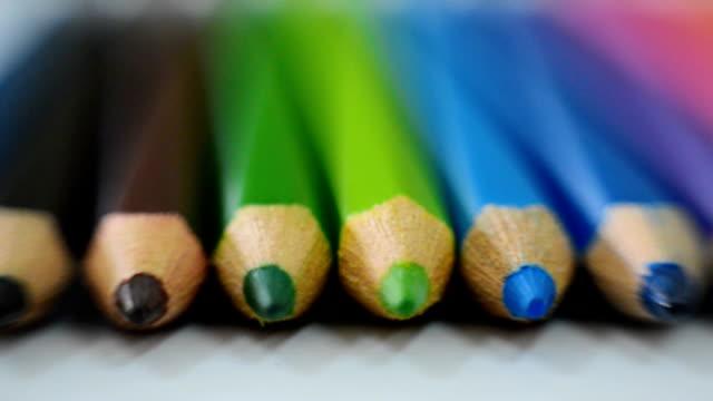 Close-up at Colored pencils Dolly shot,Close-up at Colored pencils extreme close up stock videos & royalty-free footage