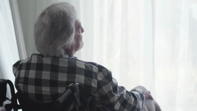 Close-up back view of lonely elderly Caucasian man sitting in wheelchair in front of big window closed with curtain and thinking. Lonely mature man spending day alone at home. Oldness, disability.
