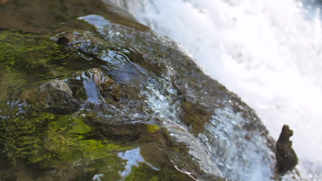 close-up beautiful stream of waterfall, super slow motion - rivulet 4k stock videos and b-roll footage