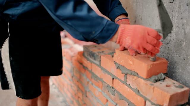 Close-up: bricklaying video