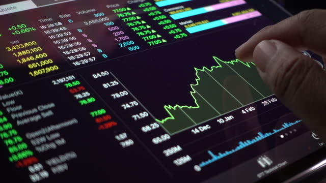 vidéos et rushes de close-up homme d'affaires analysant le marché boursier graphe de données sur une tablette numérique - analyser