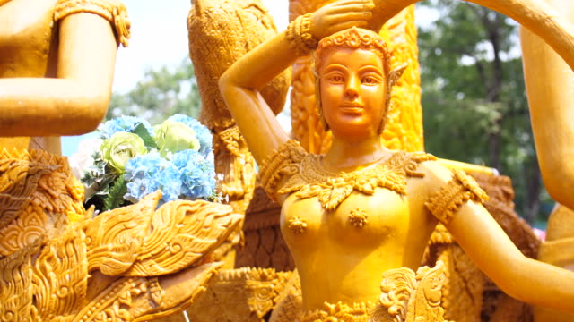 Close-up Candle Parade in Buddha Day, Thailand Traditional Festival