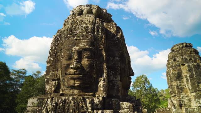 Closeup Carved Faces of Bayon Temple, Angkor, Cambodia