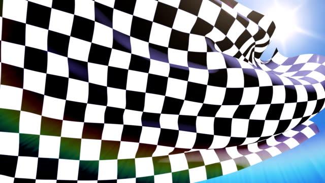 vídeos de stock e filmes b-roll de close-up checkered race flag waving - campeão desportivo