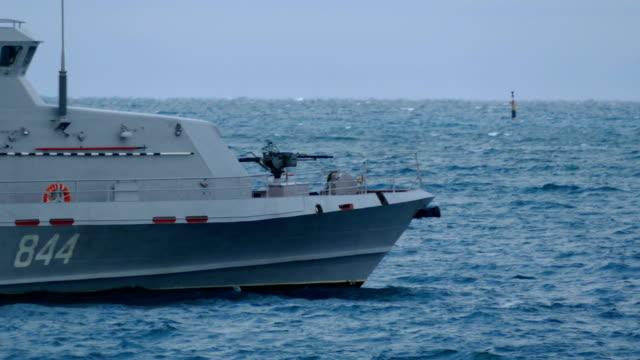 Bидео close-up - coast guard ship at sea