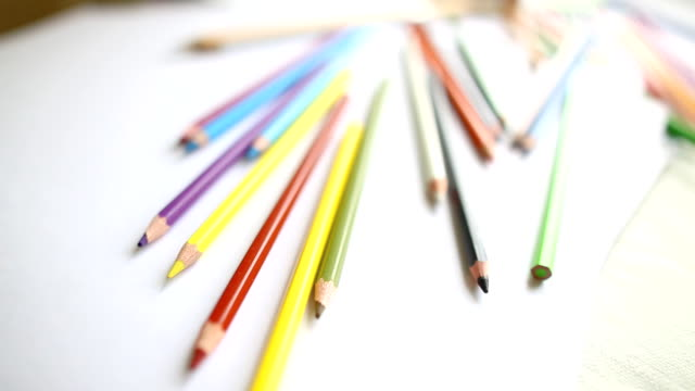 close-up colored pencils and watercolor video