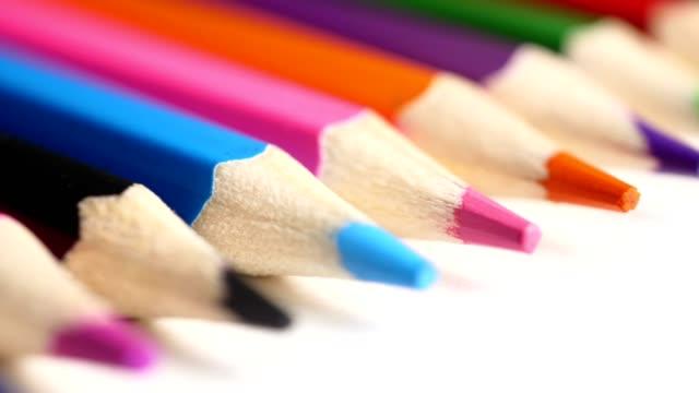 close-up colorful pencil - matita colorata video stock e b–roll