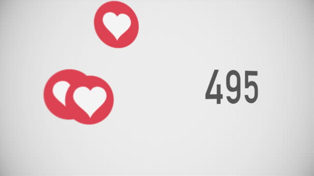 Closeup Counter of Likes Being Accumulated with Hearts video