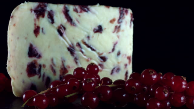 4K Close-up Cranberry Cheese with Red Currant video