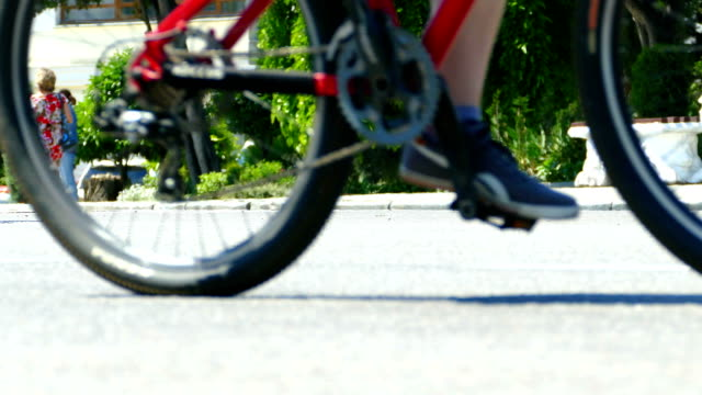 Close-up - cyclists on the road video